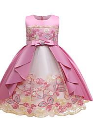 cheap -Kids Little Girls' Dress Floral A Line Dress Performance Mesh Lace Bow Blue Blushing Pink Green Midi Sleeveless Princess Cute Dresses Summer Regular Fit 1-5 Years