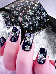 cheap -10pcs/bag Laser Snowflakes Holographic Nail Foil Sticker Christmas Tree Deer Gingerbread Starry Sky Paper Sliders Decals