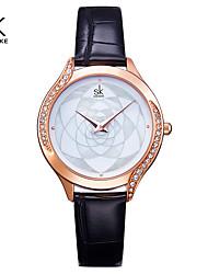 cheap -ShengKe Brand Women Watch Black Leather Rosegold Case Women's Wristwatch Luxury Ladies Crystal Dial Clock Relogio Feminino