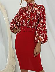 cheap -Women's Sheath Dress Knee Length Dress Yellow Red Long Sleeve Floral Color Block Split Print Fall Summer Turtleneck Elegant Casual 2021 S M L XL