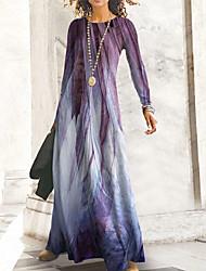 cheap -Women's A Line Dress Maxi long Dress Blue Purple Yellow Long Sleeve Print Print Fall Round Neck Casual 2021 S M L XL XXL 3XL