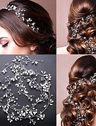 cheap -50 CM Bridal Wedding Crystal Bride Hair Accessories Pearl Flower Headband Handmade Hairband Beads Decoration Hair Comb For Women