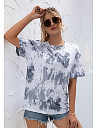 cheap -Women's Tee / T-shirt Crew Neck Sport Athleisure T Shirt Top Short Sleeves Breathable Soft Comfortable Everyday Use Street Casual Daily Outdoor / Summer