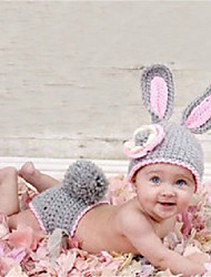 cheap -New Style Children's Gray Rabbit Photography Clothing Handmade Woolen Yarn Knitting Baby Photo Clothes Newborn Knitted Hat