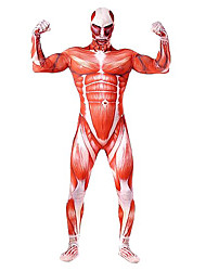 cheap -Attack on Titan Super Heroes Soldier / Warrior Cosplay Costume Skin Suit Men's Women's Movie Cosplay Anime Cosplay Sex Red Leotard /