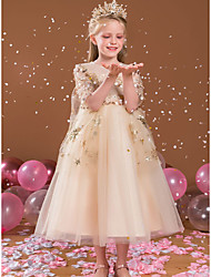 cheap -Princess Ankle Length Flower Girl Dresses Party Satin Half Sleeve Jewel Neck with Beading