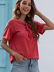 cheap -Women's Tee / T-shirt Drawstring V Neck Solid Color Sport Athleisure T Shirt Top Short Sleeves Breathable Soft Comfortable Everyday Use Street Casual Daily Outdoor / Summer