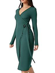 cheap -Women's Sheath Dress Knee Length Dress Green Long Sleeve Solid Color Lace up Fall V Neck Elegant Casual 2021 S M L XL XXL