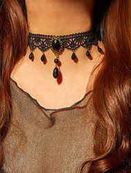 cheap -Choker Necklace Collar Necklace Women's Chunky Crystal Black Weave Gothic Ethnic Fashion Vintage European Wedding Black 30-45 cm Necklace Jewelry for Wedding Street Daily Club Festival
