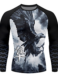 cheap -21Grams Men's Long Sleeve Compression Shirt Running Shirt Top Athletic Athleisure Spandex Quick Dry Moisture Wicking Breathable Fitness Gym Workout Running Active Training Exercise Sportswear Eagle