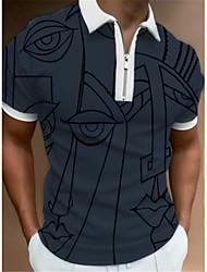 cheap -Men's Golf Shirt Eye Zipper Short Sleeve Street Regular Fit Tops Casual Fashion Streetwear Breathable Gray