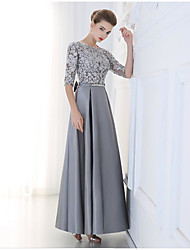 cheap -A-Line Jewel Neck Floor Length Lace / Satin Bridesmaid Dress with Sequin / Appliques