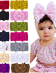 cheap -14 pcs/set Children's Double-layer Bow Headband Baby Solid Color Headband Hair Ball Side Bow Headband