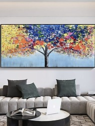 cheap -Oil Painting Handmade Hand Painted Wall Art Abstract Plant Colorful Blooming Tree Home Decoration Decor Stretched Frame Ready to Hang