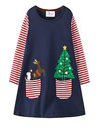 cheap -Kids Little Girls' Dress Striped Elk Animal A Line Dress Daily Print Navy Blue Knee-length Long Sleeve Princess Cute Dresses Christmas Fall Spring Regular Fit 3-10 Years