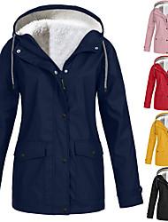 cheap -women rain jacket fleece lining outdoor plus size hooded raincoat thermal warm windproof hoodies outerwear sweatshirt coat overcoat navy