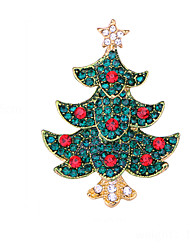cheap -Women's Brooches Geometrical Christmas Tree Artistic Fashion European Sweet Brooch Jewelry Golden Red Green For Christmas Daily Festival