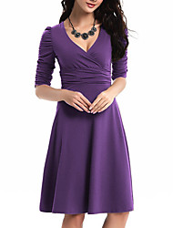 cheap -Women's A Line Dress Knee Length Dress Blue Purple Wine Army Green Gray Khaki Green Black Dark Gray Red 3/4 Length Sleeve Solid Color Ruched Fall V Neck Work Elegant Casual 2021 S M L XL XXL
