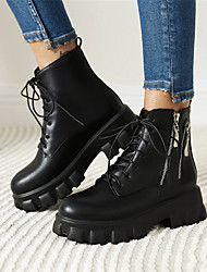 cheap -Women's Boots Block Heel Round Toe Booties Ankle Boots Daily PU Solid Colored Black / Booties / Ankle Boots