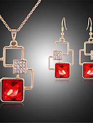 cheap -Women's Synthetic Ruby Bridal Jewelry Sets Geometrical Alphabet Shape Fashion Earrings Jewelry Gold For Party Gift Daily Festival 1 set