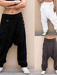 cheap -Women's Yoga Pants Side Pockets Harem Bloomers Bottoms Quick Dry Solid Color Gray White Black Yoga Fitness Gym Workout Summer Sports Activewear Micro-elastic Loose / Athletic / Athleisure