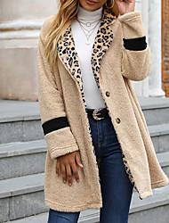 cheap -Women's Coat Street Daily Going out Fall Winter Long Coat Regular Fit Warm Breathable Casual Streetwear Jacket Long Sleeve Leopard Fur Trim Beige