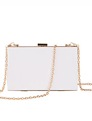 cheap -Women's Girls' Bags Alloy Evening Bag Rivet Chain Solid Color Party / Evening Date Evening Bag White Black