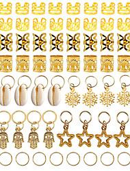 cheap -70Pcs Women Girls Dreadlocks Beads Hair Braid Rings Clips DIY Braiding Metal Cuffs Jewelry Pendants Hair Decoration Accessories
