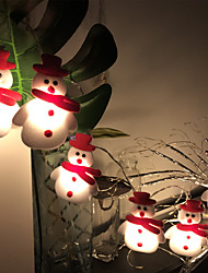 cheap -Christmas Snowman LED String Lights 1.5M-10LEDs 3M-20LEDs Battery Powered Fairy Lights Christmas Tree Decoration Light Holiday Party Christmas New Year Home Decoration