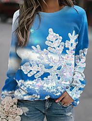 cheap -Women's Sweatshirt Pullover Graphic Prints Print Christmas Sports 3D Print Active Streetwear Hoodies Sweatshirts  Blue Green Red