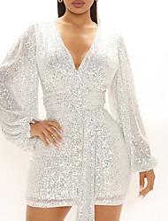 cheap -Women's A Line Dress Short Mini Dress Purple Green White Black Long Sleeve Solid Color Sequins Fall V Neck Elegant 2021 S M L XL XXL