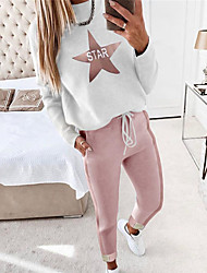cheap -Women's Warm Loungewear Sets Home Street Daily Going out Elastic Waist Print Star Letter Nylon Simple Fashion Sport Pant Fall Winter Crew Neck Long Sleeve Long Pant Not Specified