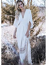 cheap -Women's Shift Dress Maxi long Dress White Long Sleeve Solid Color Lace Fall Spring V Neck Casual Boho 2021 S M L XL