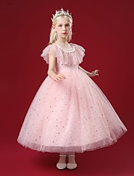 cheap -Kids Little Girls' Dress Sequin Party Special Occasion Mesh Sparkle Blushing Pink Red Beige Maxi Sleeveless Princess Cute Dresses Children's Day Fall Winter Slim 4-12 Years / Spring / Summer