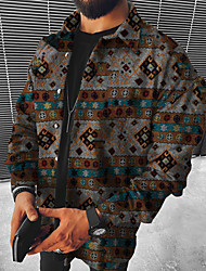 cheap -Men's Shirt Tribal Geometry Button-Down Long Sleeve Street Regular Fit Tops Ethnic Style Casual Fashion Vintage Gray