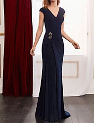 cheap -Sheath / Column Elegant Floral Wedding Guest Formal Evening Dress V Neck Long Sleeve Floor Length Spandex Chiffon with Pleats Beading 2021