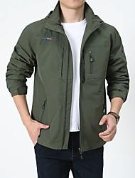cheap -Men's Outdoor Jacket Street Daily Fall Spring Regular Coat Zipper Hoodie Regular Fit Waterproof Windproof Breathable Casual Jacket Long Sleeve Solid Color Pocket Khaki Green Royal Blue