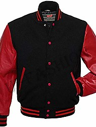 cheap -letterman baseball varsity jacket gray wool & black genuine leather sleeves (red/black, s)