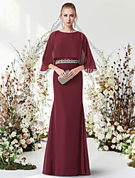 cheap -Sheath / Column Minimalist Elegant Engagement Formal Evening Dress Jewel Neck Half Sleeve Floor Length Chiffon with Sash / Ribbon 2021