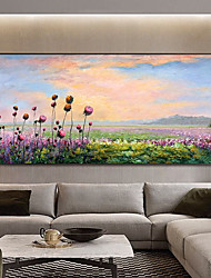 cheap -Original Plant and Flower Painting on Canvas Handmade Hand Painted Wall Art Stretched Frame Ready to Hang Large Abstract Purple Lavender Landscape Acrylic Painting Living Room Wall Art Decor
