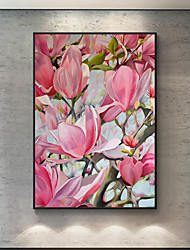 cheap -Oil Painting Handmade Hand Painted Wall Art Abstract Floral Pink Magnolia Flower Home Decoration Decor Stretched Frame Ready to Hang