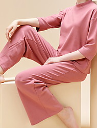 cheap -Women's Warm Suits Pajamas Home Basic Print Animal Modal Sweet Fall Spring Crew Neck Long Sleeve Long Pant