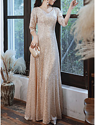 cheap -A-Line Sparkle Elegant Prom Formal Evening Dress V Neck 3/4 Length Sleeve Floor Length Sequined with Pleats 2021