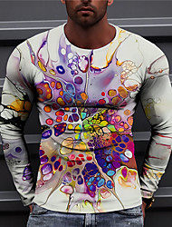 cheap -Men's Unisex T shirt 3D Print Graphic Prints Marble Print Long Sleeve Daily Tops Casual Designer Big and Tall Purple