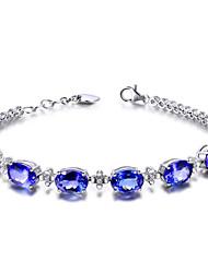 cheap -Women's Chain Bracelet Bead Bracelet Vintage Bracelet Classic Faith Elegant Fashion Punk Korean Sweet Copper Bracelet Jewelry Blue For Party Street Gift Daily Festival