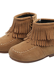 cheap -Girls' Boots Daily Suede Portable Little Kids(4-7ys) Toddler(2-4ys) Daily Theme Party Walking Shoes Tassel Camel Red Black Fall Winter / Mid-Calf Boots