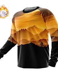 cheap -21Grams Men's Long Sleeve Downhill Jersey Winter Fleece Spandex Yellow Bike Top Mountain Bike MTB Road Bike Cycling Fleece Lining Warm Moisture Wicking Sports Clothing Apparel / Athleisure