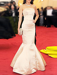 cheap -Mermaid / Trumpet Celebrity Style Elegant Engagement Prom Dress Strapless Sleeveless Floor Length Satin with Sleek 2021