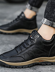 cheap -Men's Trainers Athletic Shoes Vintage British Athletic Outdoor Running Shoes Walking Shoes Leather Black Brown Fall Spring