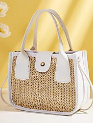 cheap -Women's Bags PU Leather Crossbody Bag Top Handle Bag Straw Bag Vintage Daily Date Straw Bag Khaki